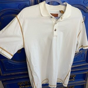 Orvis Cream Polo Partial Button Down T shirt MED
